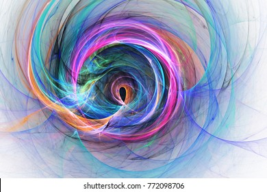 Abstract pink, orange and blue swirly shapes. Fantasy colorful chaotic fractal texture. 3D rendering.