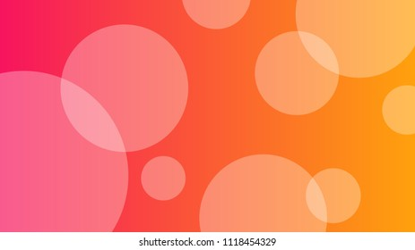 Abstract pink and orange gradient background with circle bubbles