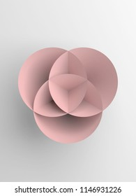 Abstract pink paper shape over white background, vertical 3d render illustration