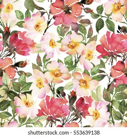 Abstract pink red roses flower watercolor seamless pattern
