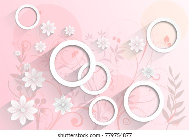Abstract pink Wallpaper with flowers. Photo wallpaper. 3D rendering.