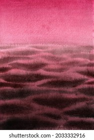 Abstract pink watercolor background. Hand drawn sunset sea, purple sky, seascape, waves, endless horizon backdrop.
