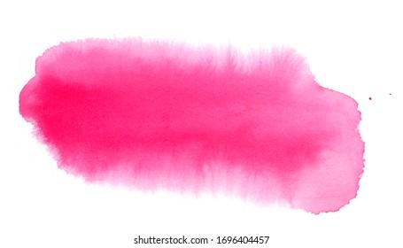 Abstrait à l'aquarelle rose sur fond blanc