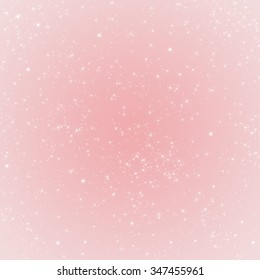 Abstract pink winter holidays background with sparkling stars and lights. Soft Rose Quartz colored background.