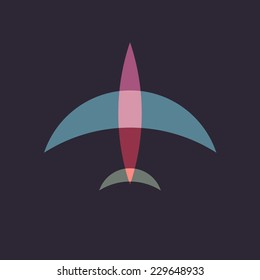 Abstract plane. Flat style