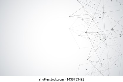 Abstract plexus background with connecting dots and lines. Global network connection, digital technology and communication concept