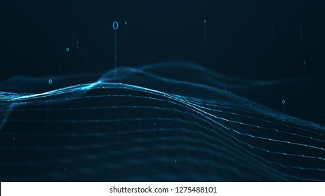 Abstract plexus geometrical shapes.Connection and web concept.digital,communication and technology network background with moving lines and dots and float particles, digits 0 and 1 as binary code.