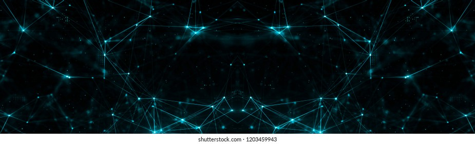 Abstract plexus structure of many glowing lines and particles. Connection concept. Creative technological ultra wide background with digital composition and optical flares. 3d rendering
