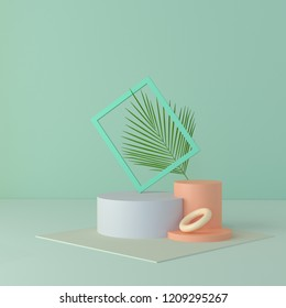 abstract podium and empty showcase,shop display or Blank product stand with primitive shape,minimal background. pastel color 3d rendering.
