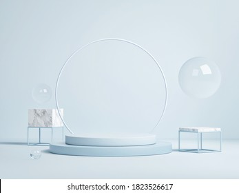 Abstract podium with geometry background for product presentation, 3d render, 3d illustration