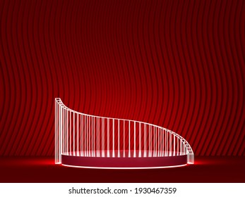 Abstract podium stage with light construction as a showcase for product design. Minimal scene. 3d illustration