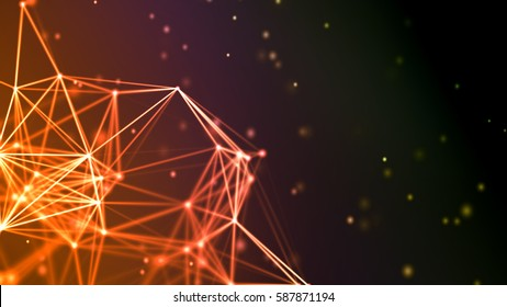 Abstract polygon triangles illuminated particles and lines, 3D Illustration
