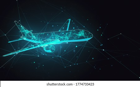 Abstract polygonal airplane on black background. AI and teamwork concept. 3D Rendering