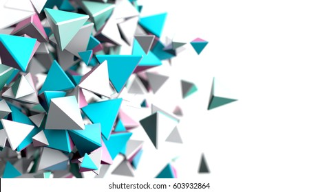 Abstract polygonal background. 3d rendering white and blue piramid
