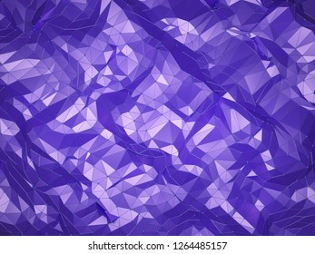 Abstract polygonal background with connected trangles, lines and dots. Modern low poly geometric design, 3D render.