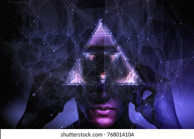 Abstract polygonal background with pensive man. Consciousness and abstraction concept. Double exposure