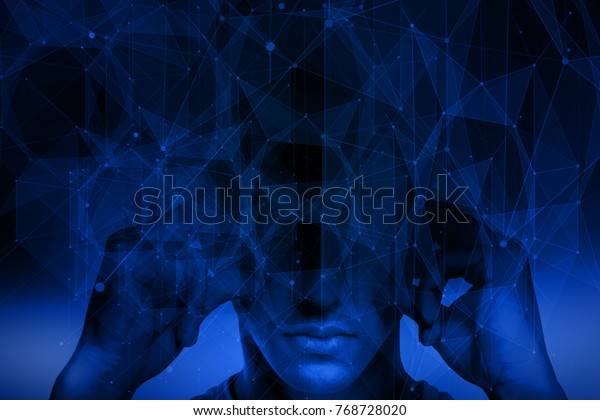 Abstract polygonal background with pensive man. Brainstorm and abstraction concept. Double exposure