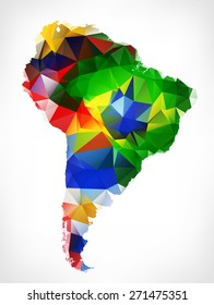 ABSTRACT POLYGONAL GEOMETRIC DESIGN MAP OF SOUTH AMERICA. PAINTED INTO COUNTRIES FLAGS COLORS.Raster illustration.
