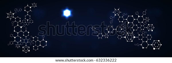 Abstract Polygonal Geometric Pattern with Hexagons. Scientific Technological Background. Concept of Chemistry Design. Raster Illustration