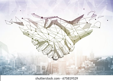 Abstract polygonal handshake on bright city background. Partnership and communication concept. 3D Rendering