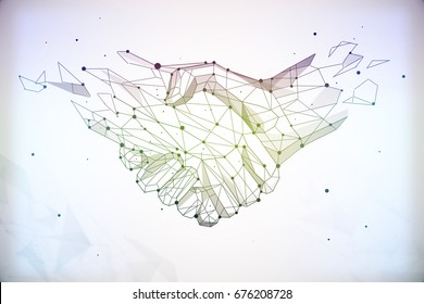 Abstract polygonal handshake on light background. Teamwork and communication concept. 3D Rendering