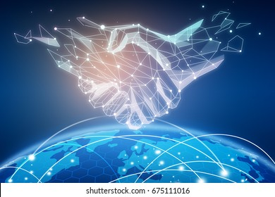 Abstract polygonal handshake over the world with global network and data exchanges. Connectivity concept. 3D Rendering