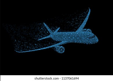 Abstract polygonal light commercial airliner. Business wireframe mesh spheres from flying debris. Travel concept. Blue structure style raster illustration.
