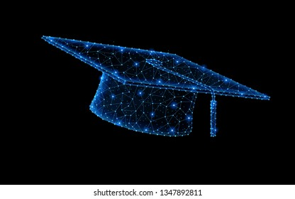 Abstract polygonal light design of Graduation cap. Business low poly wireframe mesh spheres from flying debris. Education, learning concept. Blue lines, dots structure style raster illustration.