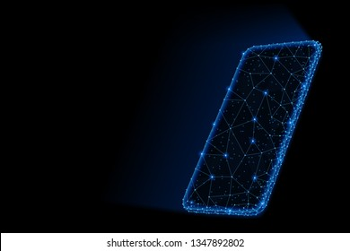 Abstract polygonal light design of smartphone with glowing screen. Business low poly mesh spheres from flying debris. Gadgets and devices concept. Blue lines structure style raster illustration.