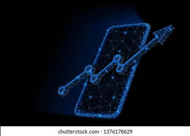 Abstract polygonal light design of smartphone, arrow growth chart. Business mesh spheres from flying debris. Mobile analytics report concept. Blue lines, dot structure style raster 3D illustration.