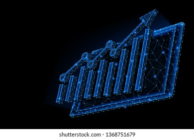 Abstract polygonal light design of tablet with arrow growth chart. Business mesh spheres from flying debris. Gadget statistic concept. Blue lines, dots structure style raster 3D illustration.