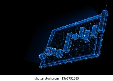 Abstract polygonal light design of tablet with stock market investment chart. Business mesh spheres from flying debris. Trade analysis concept. Blue lines, dots structure style raster 3D illustration.