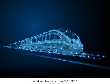 Abstract polygonal light high-speed commuter passenger train. Business wireframe mesh spheres from flying debris. Traveling concept. Blue structure style illustration.