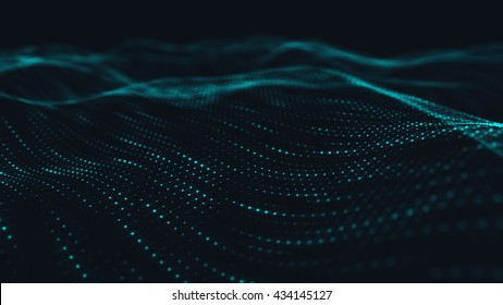 Abstract polygonal  low poly wave background with connecting dots and lines.  Abstract Flow. Connection structure. Computer HUD. Layout background. Low poly mesh. Flow. Wave. Blue Lines and dots.