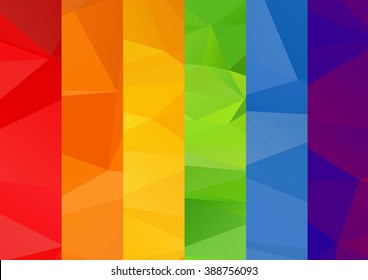 Abstract polygonal multicolored bright square rainbow background.