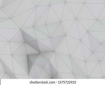 Abstract polygonal pattern luxury white. 3D rendering