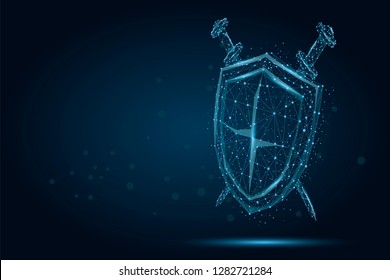 Abstract polygonal Shield and Swords. Low poly wireframe illustration. Protect and secure digital concept mash line and point.