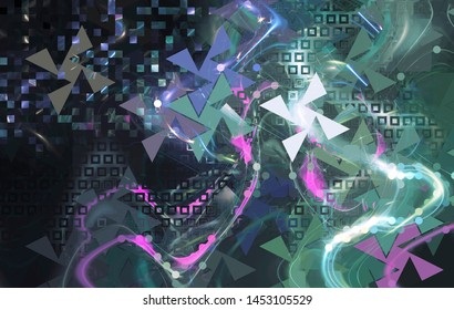 Abstract polygonal space on dark background with connecting dots and lines. Plexus structure. Graphic multicolored illustration.