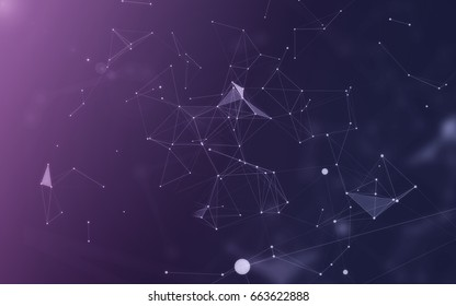 Abstract Polygonal Space Purple Background with White Low Poly Connecting Dots and Lines - Connection Structure - Futuristic HUD Background