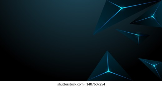 abstract polygonal triangle dark blue background