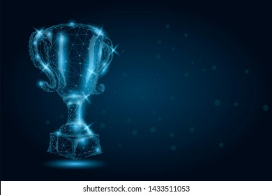 Abstract polygonal Trophy cup. Low poly wireframe illustration. Champions award for sport victory. First place, success in competition, celebration ceremony symbol.