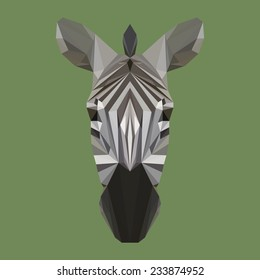 Abstract polygonal zebra head. Geometric triangle isolated low poly zebra portrait for use in design for card, invitation, poster, banner, book, placard. Nature, wildlife, animal theme. Raster copy.