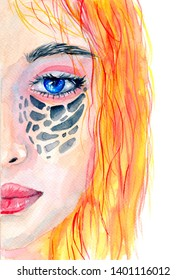 Abstract portrait of a girl. Hand painted watercolor illustration.