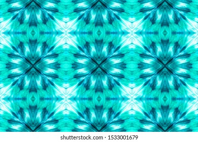 Abstract Portugal Stylized Ornament. Dip Dye Paper. Seamless Boho Wallpaper. Watercolor Herringbone. Bohemian Design. Bright Blue, Turquoise On White.