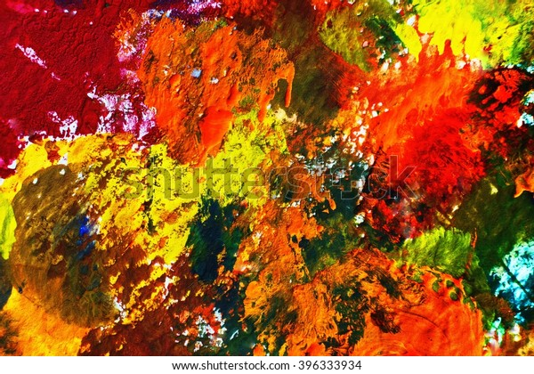 Abstract Poster Color Painting On Paper Stock Illustration 396333934