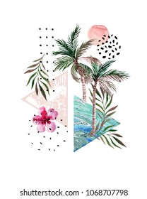 Abstract poster: watercolor palm trees, leaves, hibiscus flower, marble triangles. Hand drawn geometrical, tropical, doodle elements background in modern graphic style. Watercolor art illustration