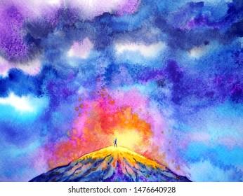 abstract power human volcano spiritual watercolor painting illustration design