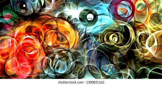 abstract psychedelic background colored fractal hotspots arranged circles and spirals of different sizes Digital graphic design alchemy. magic