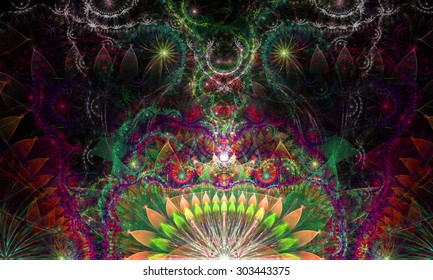 cf3a4d01d Abstract Psychedelic colorful background with a decorative alien like  flower in the center and flower ornamental