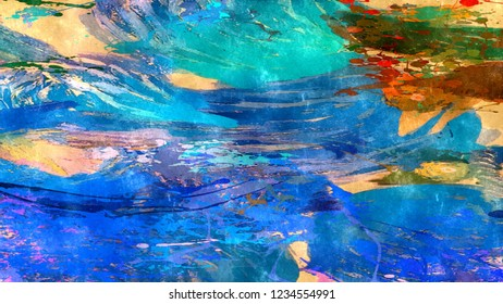 abstract psychedelic grunge background graphic stylization on a textured canvas of chaotic blurry strokes and strokes of paint